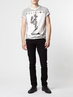 You're the tongue-in-cheek billboard in this b stripes t-shirt with large Religion Clothing praying skeleton and Shoreditch branding to the chest. The back has trademark contrast stitching to the spine. Wear with bright jeans or shorts for contrast.