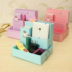 Diy placa de papel caixa de armazenamento de artigos de papelaria maquiagem cosmética organizador