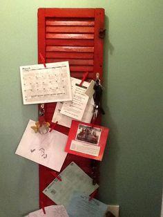 Louisiana Plantation shutter repurposed for a family memo board. SOLD