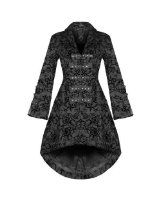 Ladies New Black Victorian Inspired Military Cotton Tailcoat.