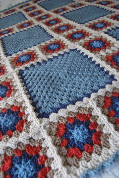 Dusty Blue, Cranberry, Taupe Flower Granny Square Afghan Blanket