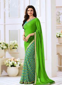 buy saree online Prachi Desai Aqua Georgette Printed Saree Buy Saree online - Buy Sarees online