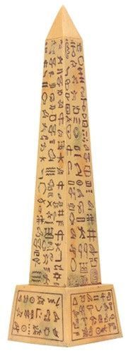 """Egyptian Obelisk Reproduction is made from resin with either a black or stone finish. 8.5""""H, approx. 0.85 lbs. PN T53070 Egyptian Obelisks are tall, slender four sided shafts carved from a single ston"""