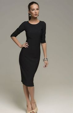 02668d6c40 2015 Fashion Woman Work Knitted Dress Sexy Slim Office Black Half Sleeve  Dresses plus size S-XXL Vestidos Femininos Hot Sale