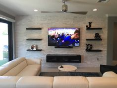 Floating Console, Floating TV Stand Espresso- Floating Console-Overlay Doors - Trend Home Entertainment 2020 Wall Unit Designs, Living Room Tv Unit Designs, Tv Wall Design, Tv Stand Designs, Window Design, Wall Mount Entertainment Center, Home Entertainment, Entertainment Products, Shelves Around Tv