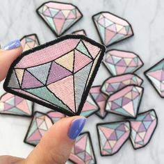 Diamond Patch - Iron On Patches - Embroidered Applique - Pastel Pink - Wildflower + Co DIY Cute Patches, Diy Patches, Pin And Patches, Iron On Patches, Denim Jacket Patches, Clothing Patches, Patch Design, Embroidery Patches, Cute Pins