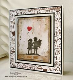Hope you are all well and thank you so much for all your visits and the lovely comments you've been leaving me! Pretty Cards, Love Cards, Be My Valentine, Valentine Cards, Craft Projects, Projects To Try, Hand Stamped, Graffiti, Balloons