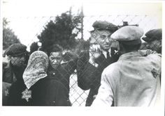 Lodz, Poland, Jews parting from their relatives before their deportation.