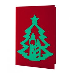 Handmade Christmas card made by applying multiple layers of cardboard. #Christmas #Card