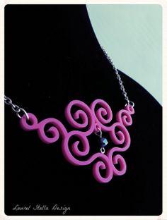 Pink Swirly necklace. Laser cut jewelry. #prettypink #necklace