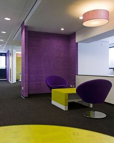 Colorful interior in purple and yellow