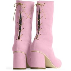 Convertible Midi Boot Peony RAFA ($450) ❤ liked on Polyvore featuring shoes, boots, thick heel shoes, chunky-heel boots, thick heel boots, lace up shoes and laced boots