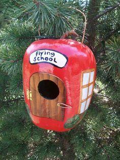 """Flying School"" apple gourd birdhouse"