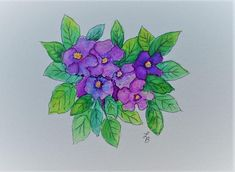Watercolor violets Card Hand Painted Greeting Cards Watercolor