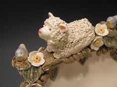 Lynn and Birds by claynestpottery on Etsy