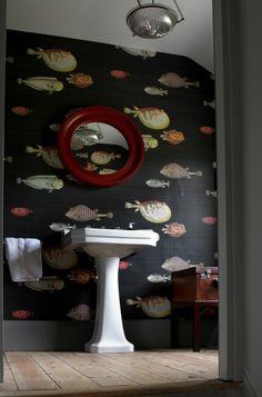 Trendy Bathroom Wallpaper Fish Home Bathroom Wallpaper Fish, Fish Wallpaper, Decoracion Vintage Chic, Fish Home, Georgian Homes, Georgian Townhouse, Downstairs Toilet, Bath Tiles, Bathroom Paint Colors