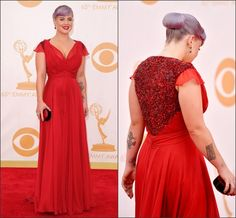 Wholesale 2014 Prom Dresses - Buy 2014 Kelly Osbourne Red Carpet Celebrity Dresses Red Plus Size V Neck Sequin Back Long Chiffon Prom Dresses Formal Gowns for Pageant, $118.33   DHgate