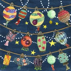 Celebration Chinese Lanterns Cut Paper Lanterns - Large Print of Original Painting Collage by Paper Taxi. $24.00, via Etsy.