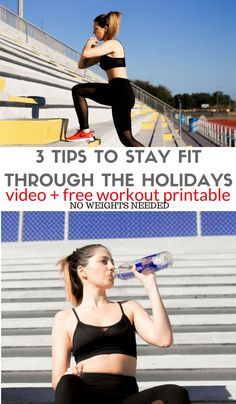 3 Tips to stay fit during the holidays! No weights needed. Health And Fitness Tips, Health And Wellness, Health Tips, Workout Gear, Workout Tips, Injury Prevention, Easy Workouts, Hiit, Stay Fit