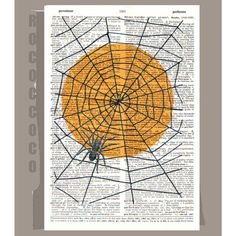 Halloween Spider - ORIGINAL ARTWORK on Upcycled Vintage Dictionary page