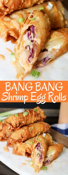Bang Bang Shrimp Egg Rolls are filled with delicious shrimp, slaw, and the super. Bang Bang Shrimp Egg Rolls are filled with delicious shrimp, slaw, and the super popular Bang Bang sauce! Perfect game day snack or appetizer! Best Chinese Food, Authentic Chinese Recipes, Chinese Chicken Recipes, Easy Chinese Recipes, Chinese Meals, Recipe Chicken, Chicken Salad, Chinese Desserts, Learn Chinese
