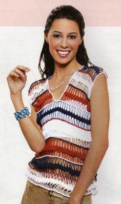 Blusa Marinheiro: V neck  Hairpin lace top