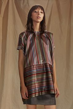 Creatures of the Wind | Pre-Fall 2015 | 11 Multicolour striped short sleeve top and grey mini skirt