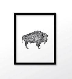 $3.99 buffalo print  buffalo art black buffalo new by dadaprintables