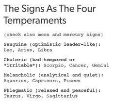 Zodiac signs temperaments