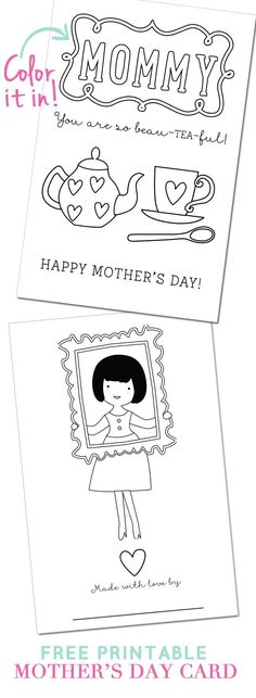 Free printable Mother's Day card that your kids can color on! Pizzazzerie.com