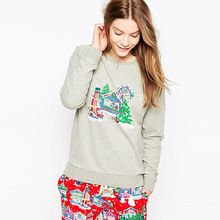 Hot 2016 Autumn Winter Loose Sport Casual Pullover Tracksuits Long Sleeve Women Hoodies Christmas Printed Sweatshirt D0290(China (Mainland))