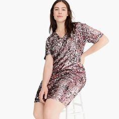 J.Crew X Universal Standard sequin V-neck T-shirt dress