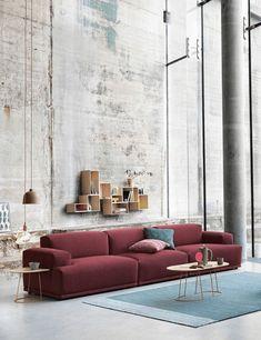 industrial style living room with burgundy sofa, wine red, berry red, burgundy, . Home Interior, Decor Interior Design, Luxury Interior, Scandinavian Cushions, Scandinavian Design, Living Room Furniture, Living Room Decor, Furniture Stores, Furniture Online