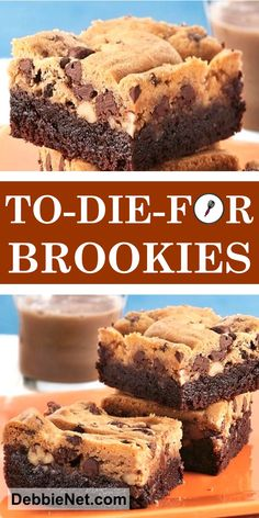 To-Die-For Brookies - Chocolate Chip - Ideas of Chocolate Chip - Brownies meet chocolate chip cookies! Amazing bars that always … Chocolate Chip Cookie Cheesecake, Cookie Dough Brownies, Easy Chocolate Chip Cookies, Cookie Brownie Bars, Chocolate Recipes, Cheesecake Bars, Chocolate Icing, Chocolate Chip Brownies, Chocolate Bars