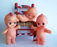 Vintage Toy  Kewpie Style Vinyl Dolls  1960 1970 by papercherries, $21.90 I SOOO wanted these when we were kids!  the next door neighbours had them!