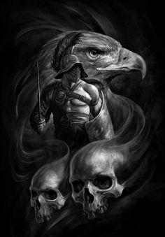 Images of skull art fantasy head - Gladiator Tattoo, Skull Tattoos, Body Art Tattoos, Sleeve Tattoos, Warrior Tattoos, Viking Tattoos, Dark Fantasy Art, Dark Art, Spartan Tattoo