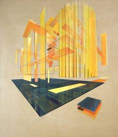 "Saatchi Art Artist Daniel Mullen; Painting, ""Monolithic Suspension  #art #painting #abstract #glass #perspective #space #repetition #tower"