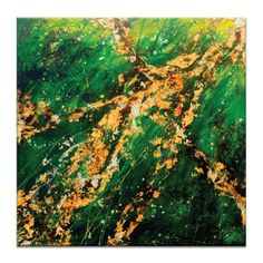 Saffron Green Stretched Canvas | More Sizes Available by Artist Lane Presents Abstracts on THEHOME.COM.AU