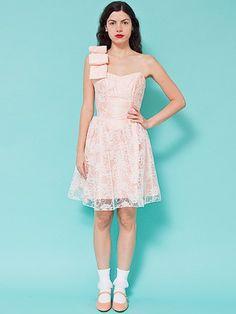 Vintage Floral Lace Oversized Bow Strap Mini Dress