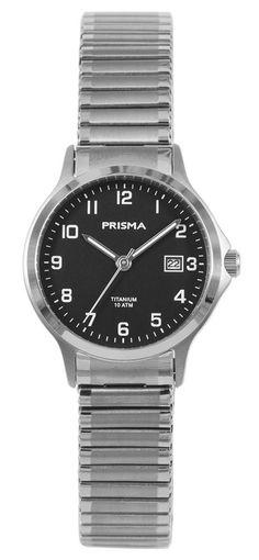 Prisma Dameshorloge Titanium met rekband P.1717. Titanium, zilverkleurig dameshorloge met rekband. Het draagbare horloge heeft een ronde kast met zwarte wijzerplaat en een zilverkleurige rekband. Het horloge is tot 100 meter waterdicht en voorzien van dat geweldig harde, vrijwel niet te bekrassen, saffierglas. Het horloge is van titanium. Mensen met een hoge gevoeligheid voor een allergische reactie is met dit horloge hoogstwaarschijnlijk van het probleem af. Titanium of titaan is…