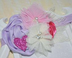 Lavender headband,baby girl headband,first birthday headband, Doc Mcstuffins headband, Lilac bows,Lilac and Pink headband, newborn headbands