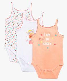 694887f6ae976 Bodies bébé fille imprimés à bretelles et dentelle (lot de 3) Blanc