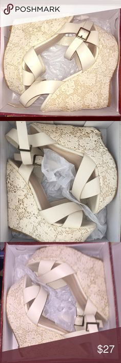 Lace Cream Colored Wedges Size 7 I ordered these on a different site because the picture they posted had these shoes in white so I specifically ordered them to wear with a white lace matching jacket I had bought so I thought... when I received them they are not white they are a light cream color.  They do not match my jacket. So I never wore them and am selling them. Shoes Wedges