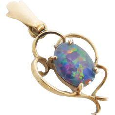 Vintage Retro Opal Triplet Pendant in 9ct gold