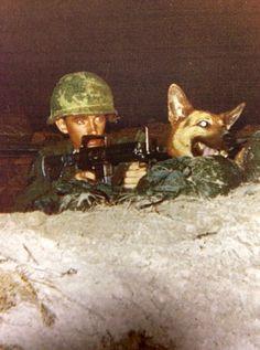 Sgt. Roscoe Bookbinder & war dog Rex, 1968.