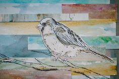 Bird on a Branch Watercolor Collage by AwakeYourSoul on Etsy, $20.00