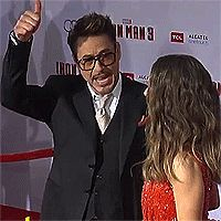 Iron Man 3, Hollywood Premiere (gif) Robert is always doing the oddest things.....Love Him for that :)