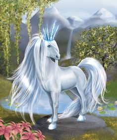 Thora Bella Sara Fantasy Horse, white with Ice Crown Magical Creatures, Fantasy Creatures, Beautiful Creatures, Bella Sara, Horse Cards, Horse Illustration, Wings Of Fire, Carousel Horses, Beautiful Horses