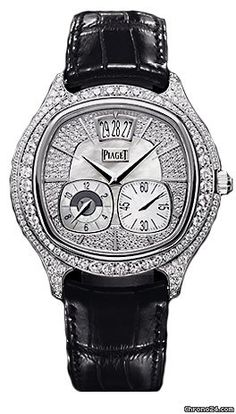 Piaget Black Tie Emperador Cushion Watch G0A32018 $39,420 #Piaget #watches #chronograph 18k white gold with diamonds case with a black leather strap