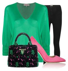 """pink, green & black"" by bexry ❤ liked on Polyvore featuring L'Agence, Emilio Pucci, Manolo Blahnik, Prada, jeans, MyStyle and pinkandgreen"